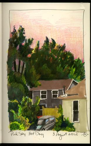 summer ink coloredpencils urbanlandscape cedarfallsiowa artistmarkers marciamilnerbrage