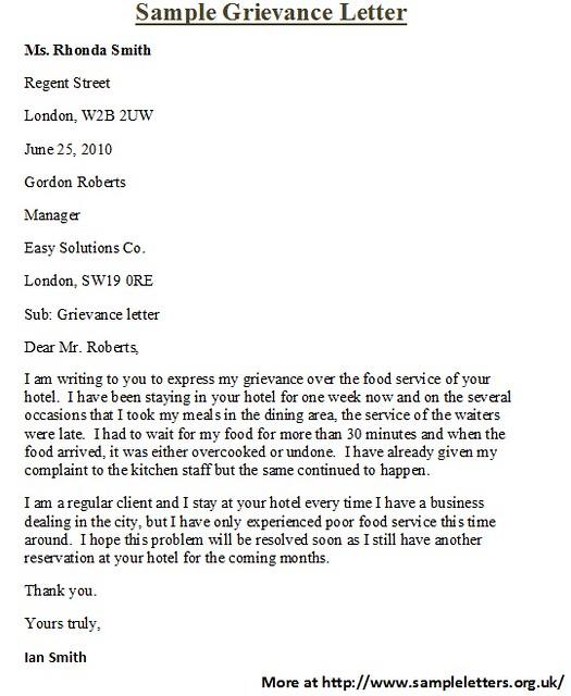 sample grievence letter - Fashion.stellaconstance.co