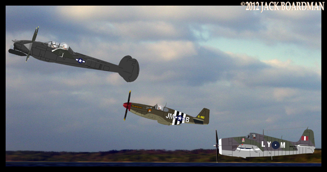 Lightning, Mustang & Hellcat flying fast & low ©2012 Jack Boardman