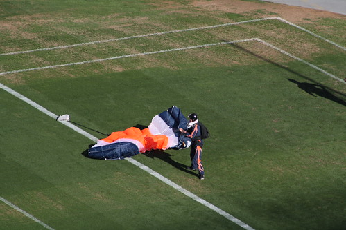 skydiver at Sports Authority Field