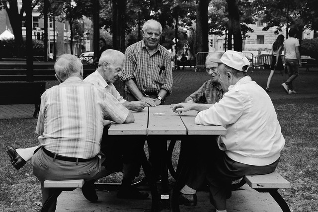 the old friends playing cards