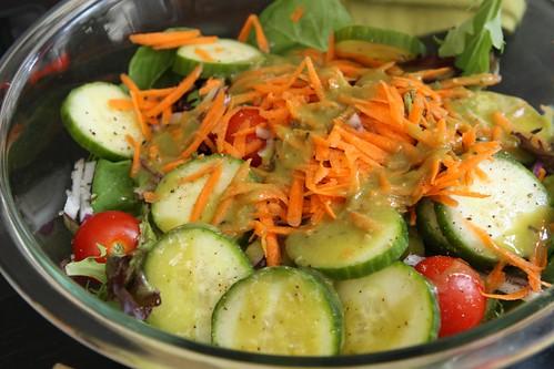 Green Salad with Spicy Avocado Vinaigrette