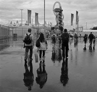 Wet day at the Olympic Park, West Ham entrance, London 2012
