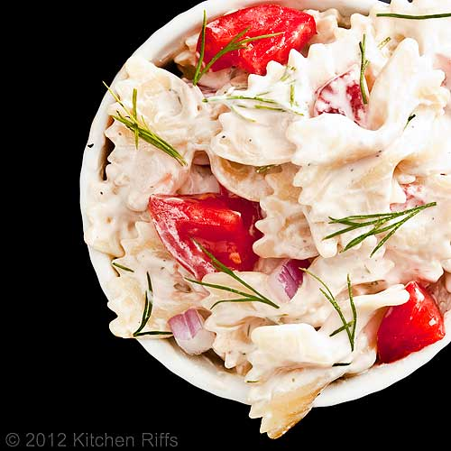 Pasta Salad with Dill Garnish, Overhead View
