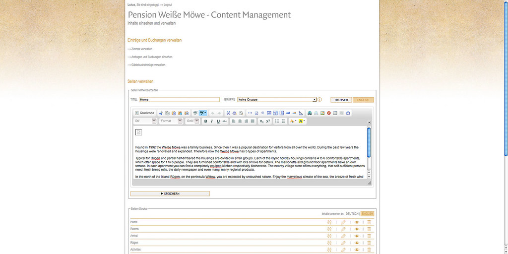 CMS back end – content editor. The user can add, edit, and delete content, and, what is more important for a guest house, manage rooms and respective offers.