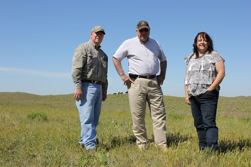 Ranchers who are protecting the lesser prairie-chicken while improving their operations: Tom Turner (left), Glen Mull, and Amy Harter.