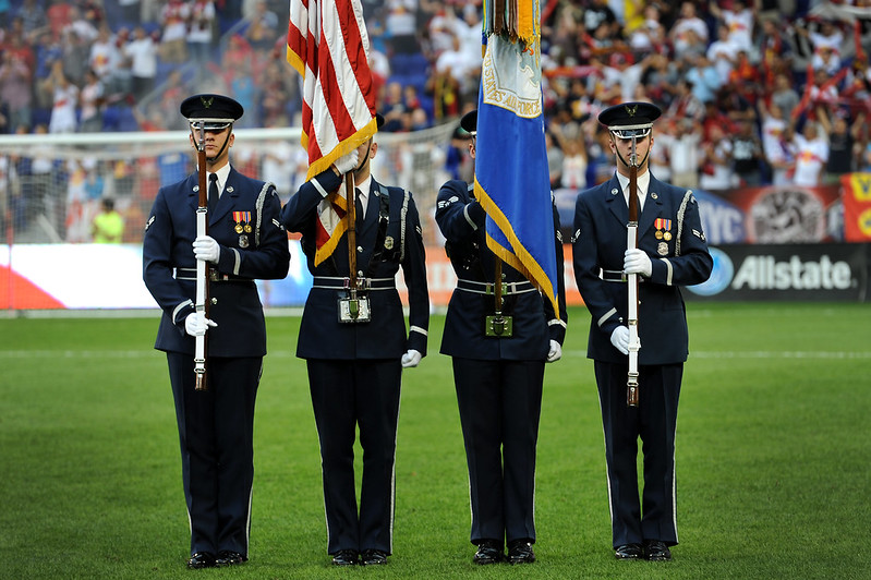 USAF Color Guard performs at MLS game