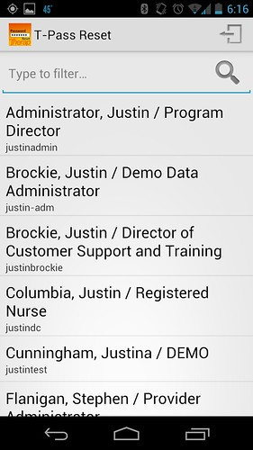 Screenshot of Name of Provider Admins
