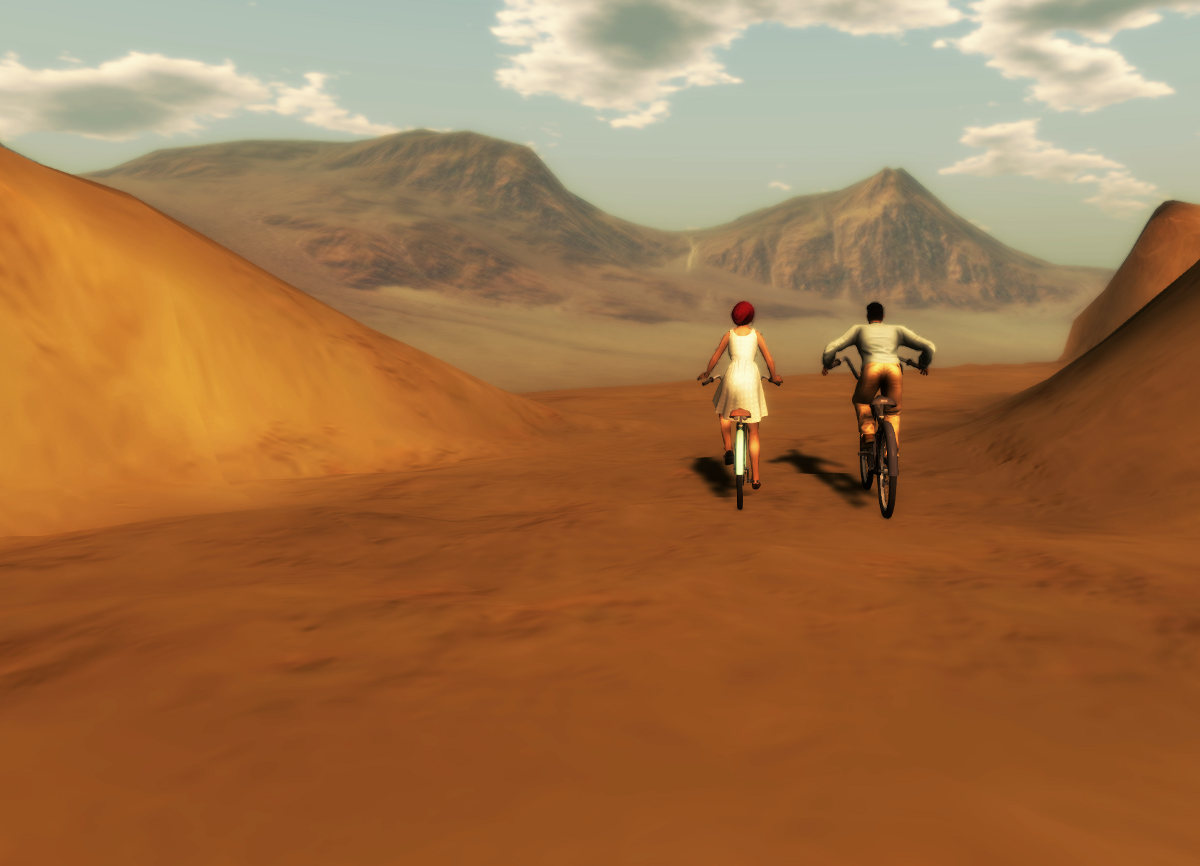 Nikolai Warden and Ricco Saenz riding bikes on a desert