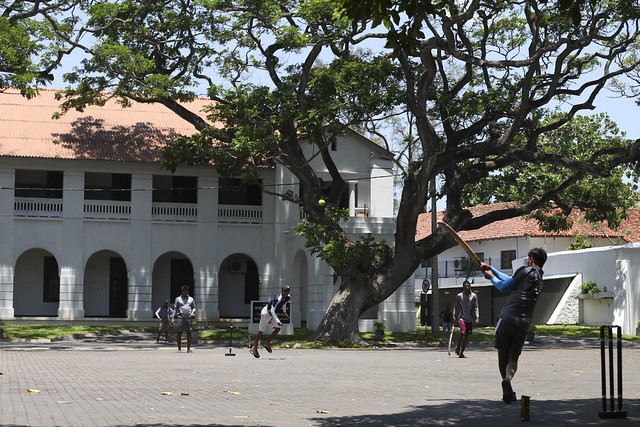 Cricket in front of the High Court in Galle