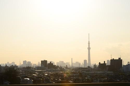 Tokyo Tower and Tokyo Sky Tree View at Satomi Park