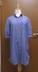 青シャツワンピース裾ドローイング
