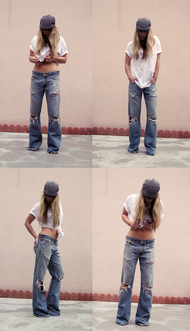 vintage levis jeans and a white t shirt