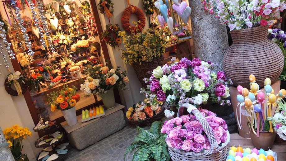 薩爾茲堡街上的可愛花店