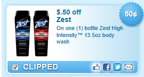 Zest High Intensity  Body Wash  Coupon