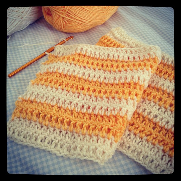 The beginning of a baby blanket..