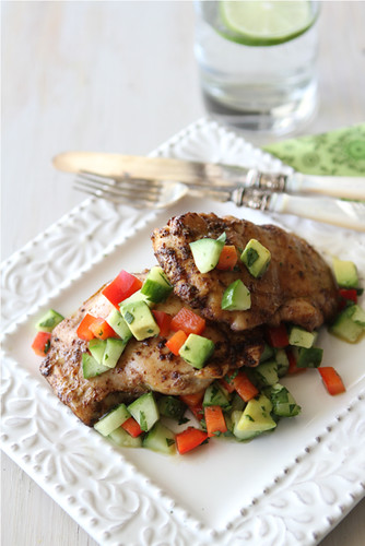 Spicy Chicken Thigh Recipe with Cucumber Avocado Salsa | cookincanuck.com #healthy