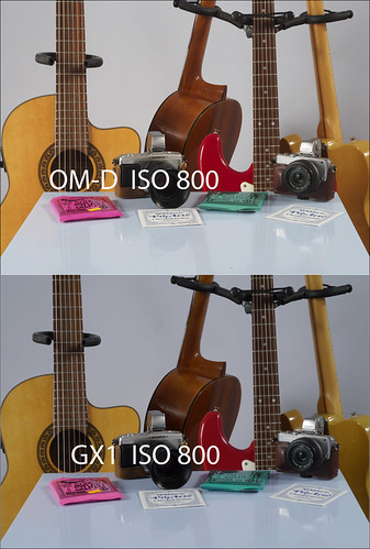Comparison between OLYMPUS OM-D EM-5 and PANASONIC GX1 with 45mm f/1.8 lens at ISO 800
