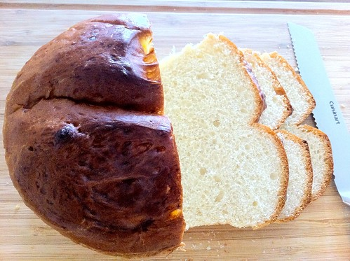 Homemade French Bread Boule, Sliced