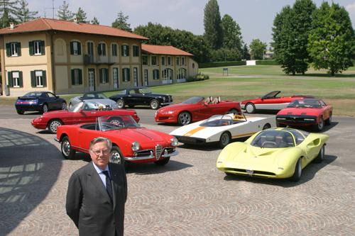 Sergio Pininfarina with Alfa Romeos
