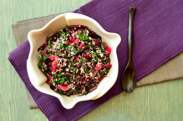 Beet Greens Fugath (Spiced Beet Greens with Shredded Coconut)