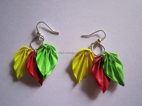Handmade Jewelry - Paper Leaves Earrings (4) by fah2305