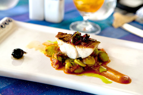 Halibut with lima beans and olives