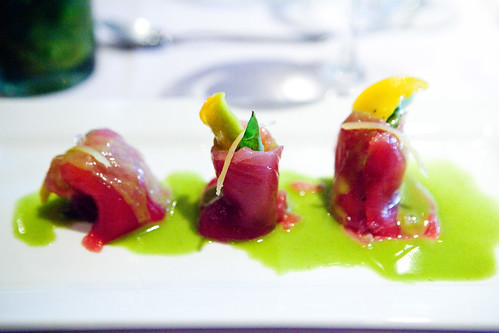 Tuna tulips with fresh mango, basil, avocado, lemon, sea salt in basil vinaigrette