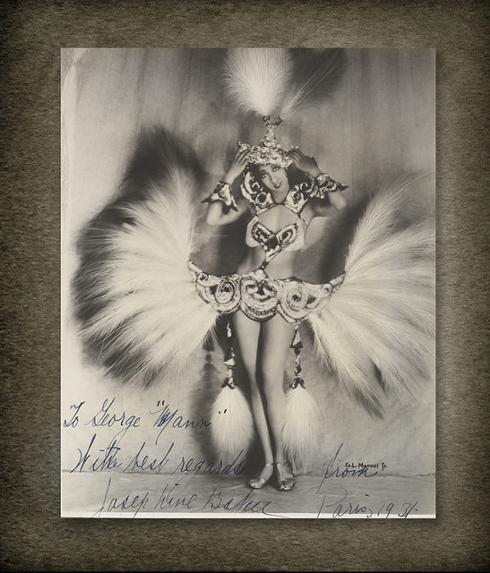 Josephine Baker photograph autographed to George Mann