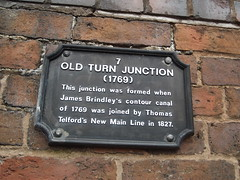 Photo of Old Turn Junction, James Brindley, and Thomas Telford black plaque