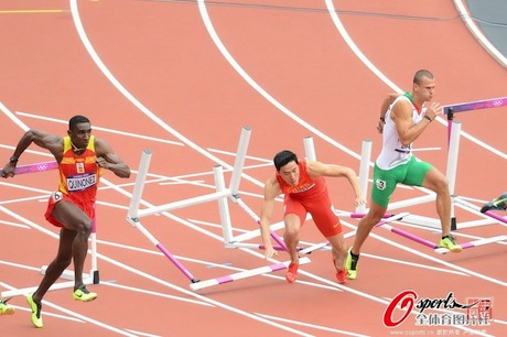 August 7th, 2012 - Liu Xiang falls in the 110m hurdle race in London that eliminated him from competition