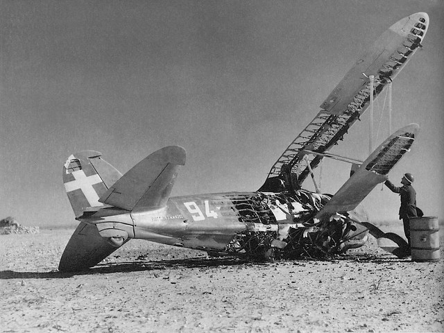 Fiat CR.42 crash