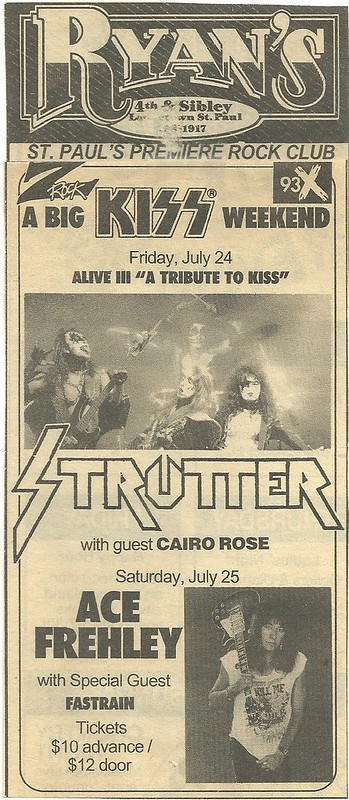 07/25/92 Ace Frehley/Fastrain @ Ryan's, St. Paul, MN