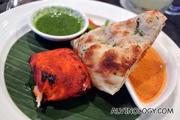 Indian Fish Tikka with Garlic Naan
