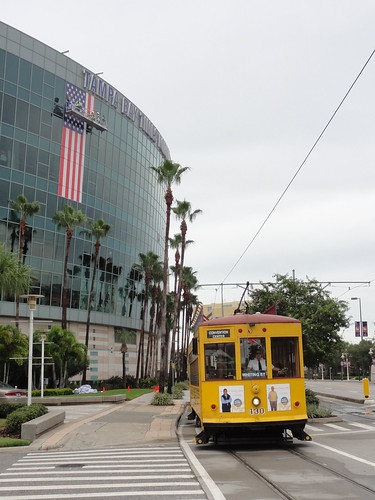 Trolley going past the Tampa Bay Times Forum