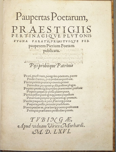 Title leaf of Paupertas poetarum, a poem composed of words beginning with the letter P by Penn Provenance Project