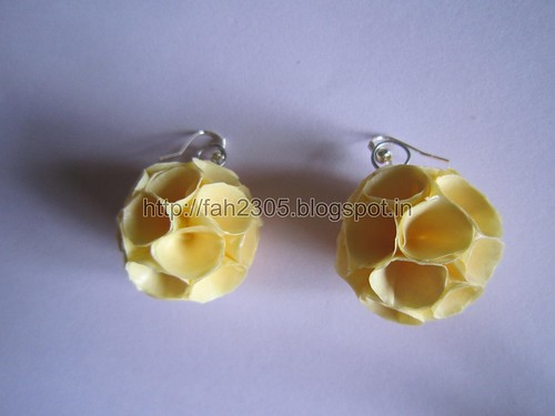 Handmade Jewelry - Paper Cone Globe Earrings (Off White)  (2) by fah2305