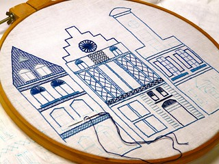 Dutch Canal Houses embroidery to celebrate St. Nicholas Day/Sinterclas