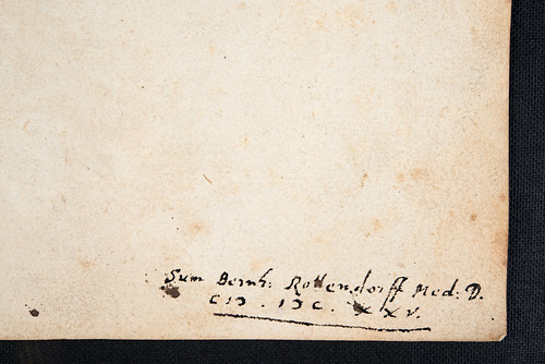 Ownership inscription in book bound in with Mundinus: Anatomia