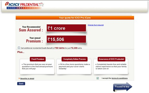 Image of premium calculation for iCare for a premium of 1 crore