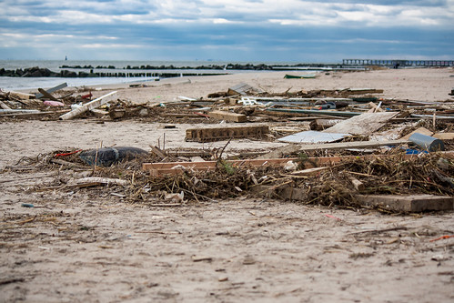 Garbage on the beach: Coney Island after hurricane