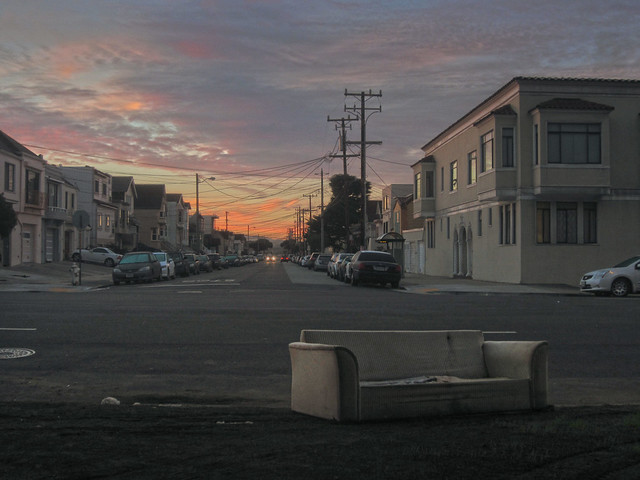 discarded sofa on Lincoln Way; The sunset, san francisco (2012)