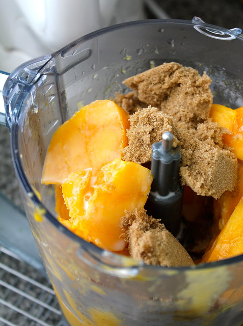 Chunks of mango gelato is blender with brown sugar