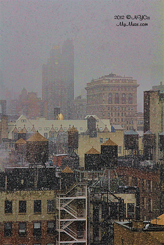 NYC Noreaster: Back of Flatiron Building, Water Towers & Lots of Snow Falling!