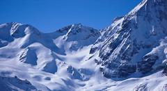 Widok z  Zaytal - przełęcz Cedecpass (3283m) i Gran Zebru (3851m)