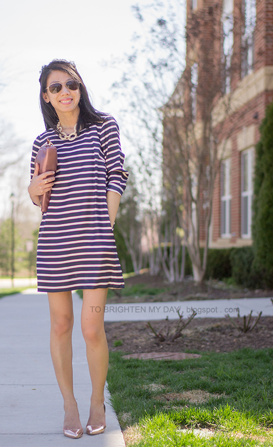 striped shift dress, metallic rose clutch and wedges