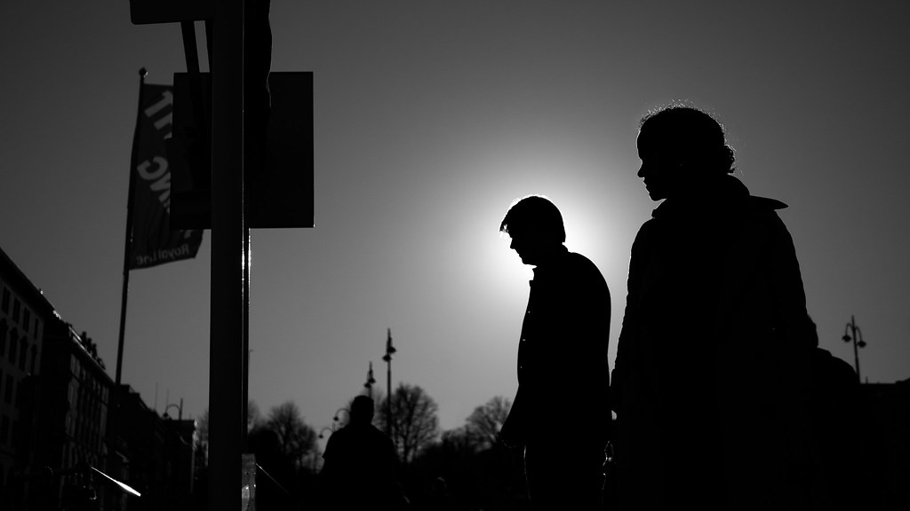 Man and woman in backlight, Helsinki, Finland picture