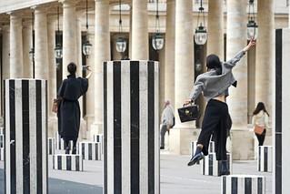 Image of Les Colonnes Buren. paris france palaisroyal selfie danielburen lescolonnesdeburen dalbera les2plateaux