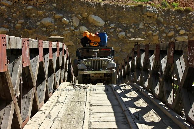 Suspension bridge & jeep