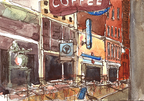 View of E. 4th St. from Erie Island Coffee Co., Cleveland, Ohio